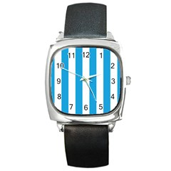 Oktoberfest Bavarian Blue And White Large Cabana Stripes Square Metal Watch by PodArtist