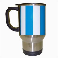 Oktoberfest Bavarian Blue And White Large Cabana Stripes Travel Mugs (white) by PodArtist