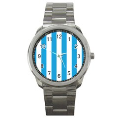 Oktoberfest Bavarian Blue And White Large Cabana Stripes Sport Metal Watch by PodArtist
