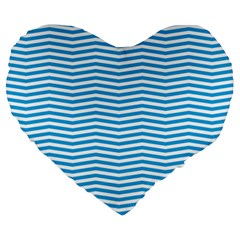 Oktoberfest Bavarian Blue And White Chevron Stripes Large 19  Premium Heart Shape Cushions by PodArtist