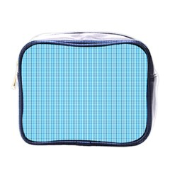 Oktoberfest Bavarian Blue And White Small Gingham Check Mini Toiletries Bag (one Side) by PodArtist