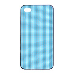 Oktoberfest Bavarian Blue And White Small Gingham Check Apple Iphone 4/4s Seamless Case (black) by PodArtist