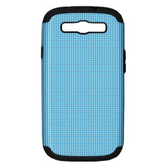 Oktoberfest Bavarian Blue And White Small Gingham Check Samsung Galaxy S Iii Hardshell Case (pc+silicone) by PodArtist