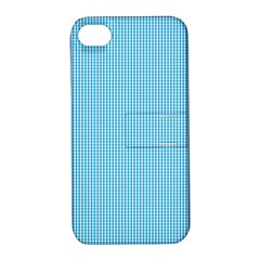 Oktoberfest Bavarian Blue And White Small Gingham Check Apple Iphone 4/4s Hardshell Case With Stand by PodArtist