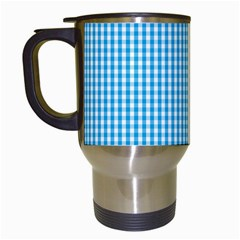 Oktoberfest Bavarian Blue And White Gingham Check Travel Mugs (white) by PodArtist