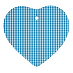 Oktoberfest Bavarian Blue And White Gingham Check Heart Ornament (two Sides) by PodArtist