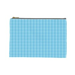 Oktoberfest Bavarian Blue And White Gingham Check Cosmetic Bag (large) by PodArtist