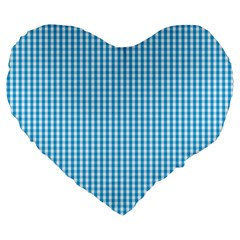 Oktoberfest Bavarian Blue And White Gingham Check Large 19  Premium Heart Shape Cushions by PodArtist
