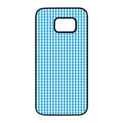 Oktoberfest Bavarian Blue And White Gingham Check Samsung Galaxy S7 Edge Black Seamless Case by PodArtist