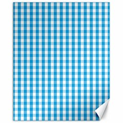 Oktoberfest Bavarian Blue And White Large Gingham Check Canvas 16  X 20  by PodArtist