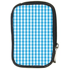 Oktoberfest Bavarian Blue And White Large Gingham Check Compact Camera Leather Case by PodArtist