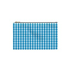 Oktoberfest Bavarian Blue And White Large Gingham Check Cosmetic Bag (small) by PodArtist