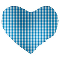 Oktoberfest Bavarian Blue And White Large Gingham Check Large 19  Premium Heart Shape Cushions by PodArtist