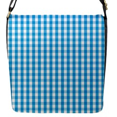 Oktoberfest Bavarian Blue And White Large Gingham Check Flap Closure Messenger Bag (s) by PodArtist