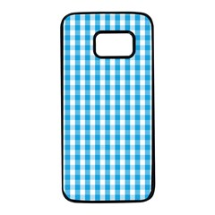 Oktoberfest Bavarian Blue And White Large Gingham Check Samsung Galaxy S7 Black Seamless Case