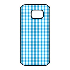 Oktoberfest Bavarian Blue And White Large Gingham Check Samsung Galaxy S7 Edge Black Seamless Case by PodArtist