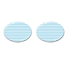 Oktoberfest Bavarian Blue And White Large Mattress Ticking Stripes Cufflinks (oval) by PodArtist
