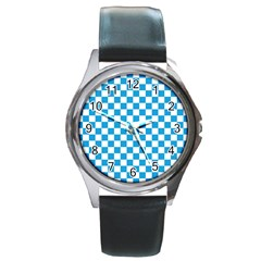 Oktoberfest Bavarian Large Blue And White Checkerboard Round Metal Watch by PodArtist
