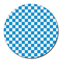 Oktoberfest Bavarian Large Blue And White Checkerboard Round Mousepads by PodArtist