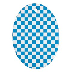 Oktoberfest Bavarian Large Blue And White Checkerboard Oval Ornament (two Sides) by PodArtist