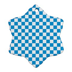 Oktoberfest Bavarian Large Blue And White Checkerboard Snowflake Ornament (two Sides) by PodArtist