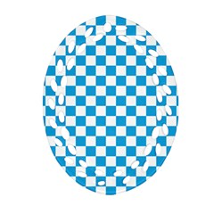 Oktoberfest Bavarian Large Blue And White Checkerboard Oval Filigree Ornament (two Sides) by PodArtist
