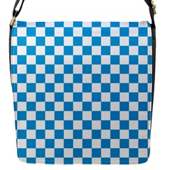 Oktoberfest Bavarian Large Blue And White Checkerboard Flap Closure Messenger Bag (s) by PodArtist