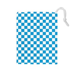 Oktoberfest Bavarian Large Blue And White Checkerboard Drawstring Pouch (large) by PodArtist