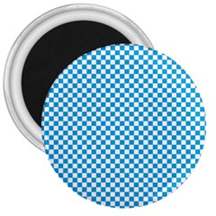 Oktoberfest Bavarian Blue And White Checkerboard 3  Magnets by PodArtist