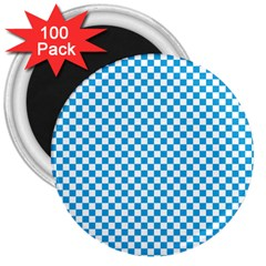 Oktoberfest Bavarian Blue And White Checkerboard 3  Magnets (100 Pack) by PodArtist