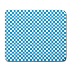 Oktoberfest Bavarian Blue And White Checkerboard Large Mousepads by PodArtist