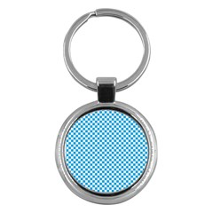 Oktoberfest Bavarian Blue And White Checkerboard Key Chains (round)  by PodArtist