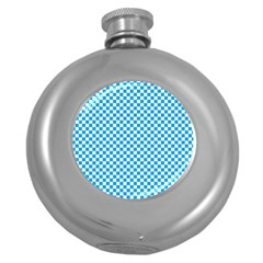 Oktoberfest Bavarian Blue And White Checkerboard Round Hip Flask (5 Oz) by PodArtist