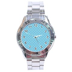 Oktoberfest Bavarian Blue And White Checkerboard Stainless Steel Analogue Watch by PodArtist