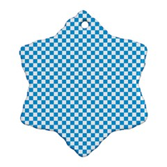 Oktoberfest Bavarian Blue And White Checkerboard Snowflake Ornament (two Sides) by PodArtist