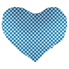 Oktoberfest Bavarian Blue And White Checkerboard Large 19  Premium Heart Shape Cushions by PodArtist