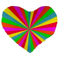 Neon Rainbow Mini Burst Large 19  Premium Heart Shape Cushions by PodArtist