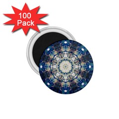 Painted Blue Mandala Flower On Canvas 1 75  Magnets (100 Pack)  by pepitasart