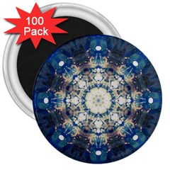 Painted Blue Mandala Flower On Canvas 3  Magnets (100 Pack)