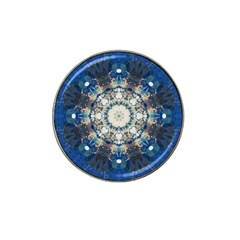 Painted Blue Mandala Flower On Canvas Hat Clip Ball Marker (4 Pack) by pepitasart