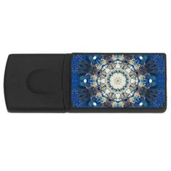 Painted Blue Mandala Flower On Canvas Rectangular Usb Flash Drive by pepitasart