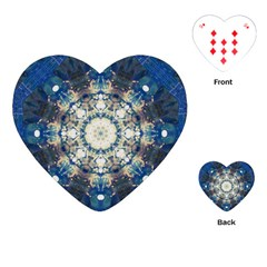 Painted Blue Mandala Flower On Canvas Playing Cards (heart) by pepitasart