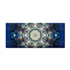 Painted Blue Mandala Flower On Canvas Hand Towel by pepitasart