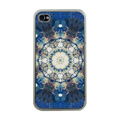 Painted Blue Mandala Flower On Canvas Apple Iphone 4 Case (clear) by pepitasart