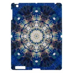 Painted Blue Mandala Flower On Canvas Apple Ipad 3/4 Hardshell Case by pepitasart