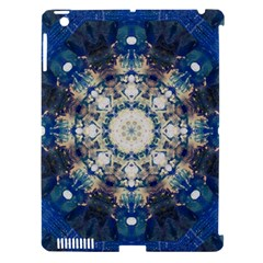 Painted Blue Mandala Flower On Canvas Apple Ipad 3/4 Hardshell Case (compatible With Smart Cover) by pepitasart