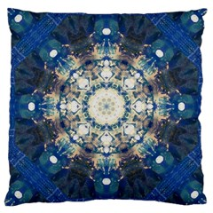 Painted Blue Mandala Flower On Canvas Large Cushion Case (one Side) by pepitasart