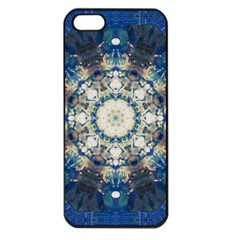 Painted Blue Mandala Flower On Canvas Apple Iphone 5 Seamless Case (black) by pepitasart