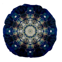 Painted Blue Mandala Flower On Canvas Large 18  Premium Round Cushions by pepitasart
