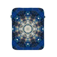 Painted Blue Mandala Flower On Canvas Apple Ipad 2/3/4 Protective Soft Cases by pepitasart